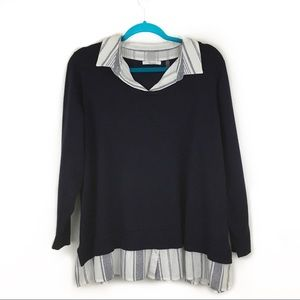 89th & Madison Navy Blue Layered Collared Sweater